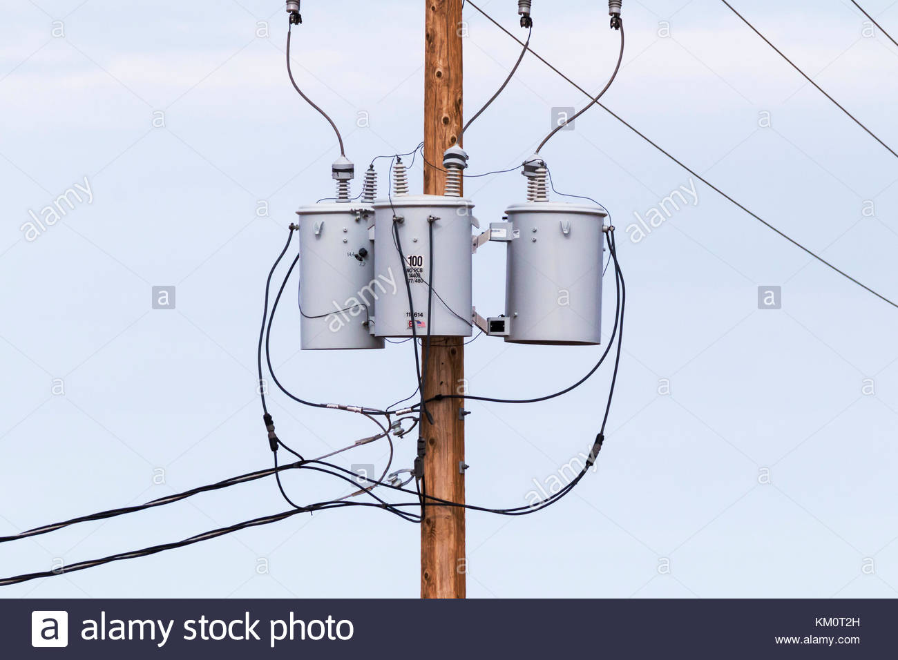hight resolution of three phase power transformers on pole in arizona usa