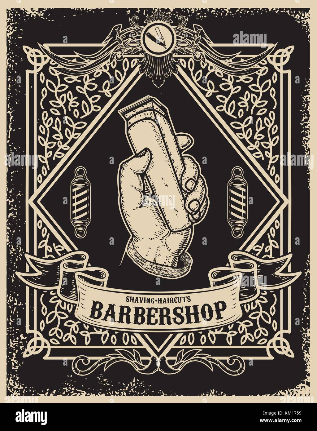 https www alamy com stock image barber shop poster template human hand with hair clipper design element 167214021 html
