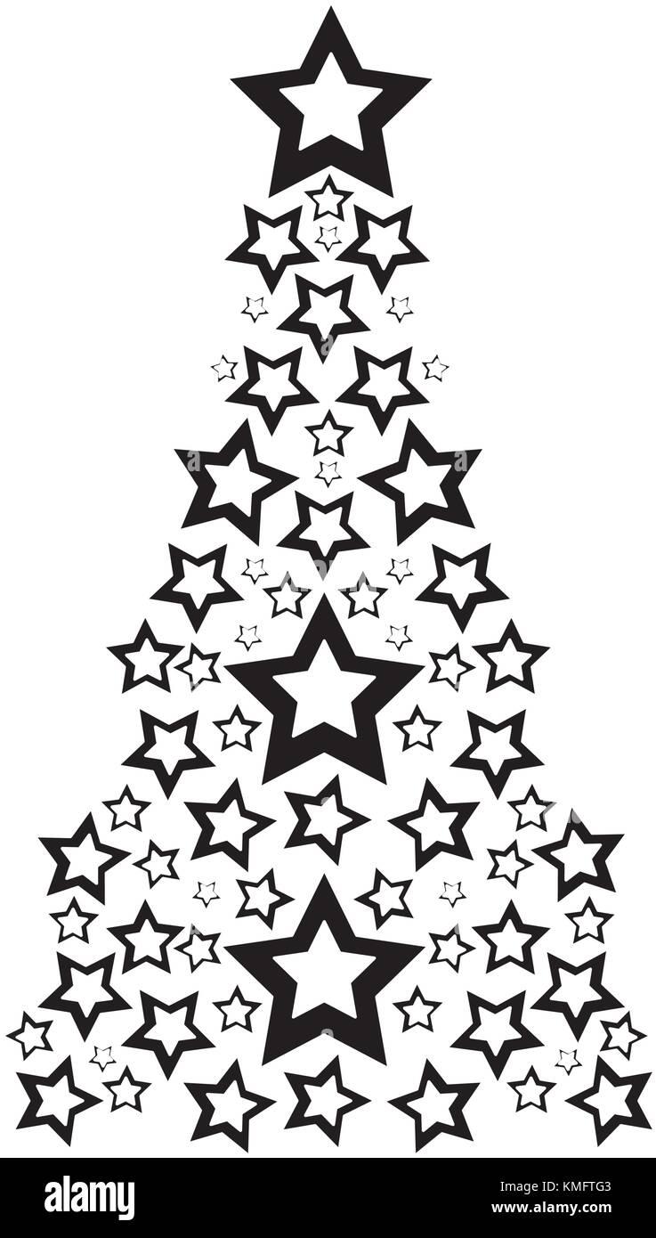 Pine Tree Stars Stock Vector Images Page  Alamycontour Pine Tree With Stars Decoration To Christmas