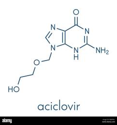 aciclovir acyclovir antiviral drug molecule used in treatment of herpes simplex virus cold sores herpes zoster shingles and varicella zoster  [ 1300 x 1329 Pixel ]