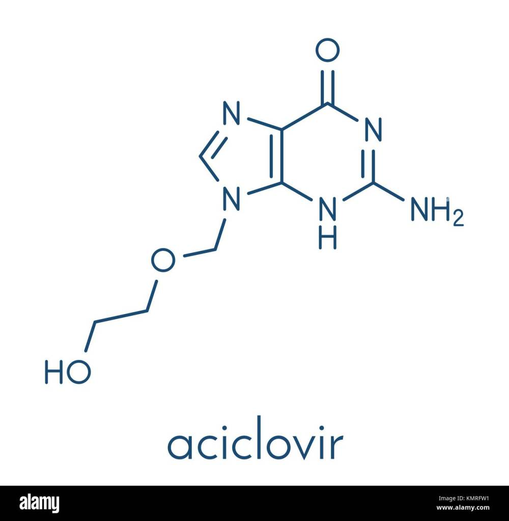 medium resolution of aciclovir acyclovir antiviral drug molecule used in treatment of herpes simplex virus cold sores herpes zoster shingles and varicella zoster