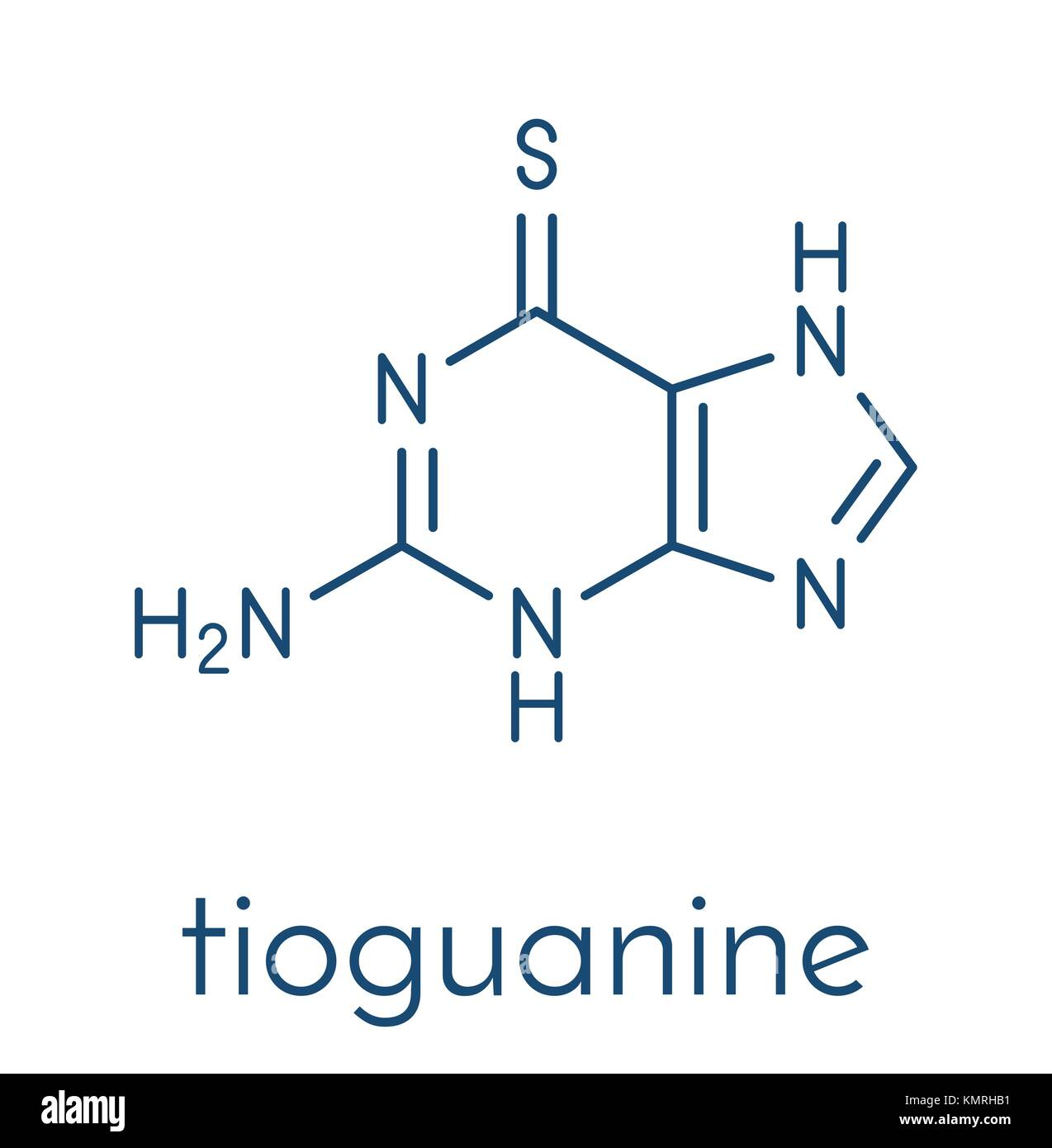 hight resolution of tioguanine leukemia and ulcerative colitis drug molecule skeletal formula stock vector