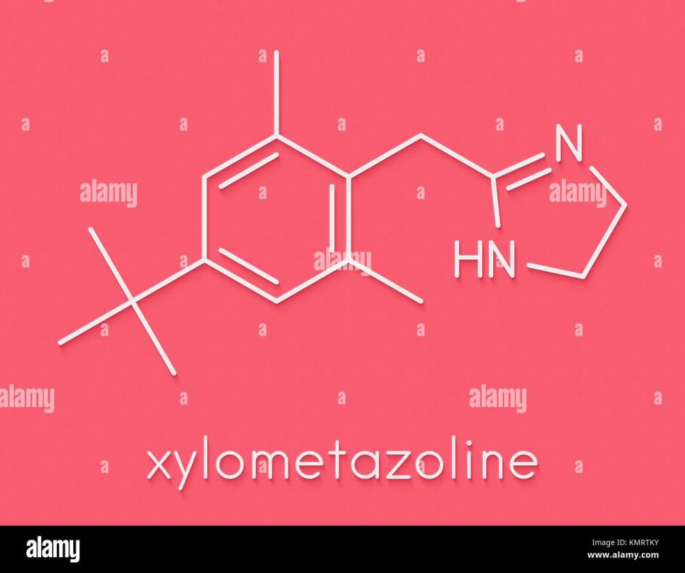 medium resolution of xylometazoline nasal decongestant molecule often used in nose spray and nose drops skeletal formula