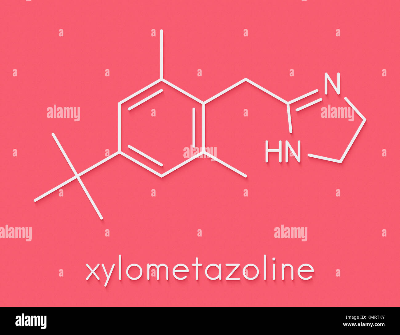 hight resolution of xylometazoline nasal decongestant molecule often used in nose spray and nose drops skeletal formula