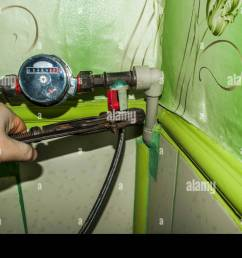 mounting water meter for plumber work with the key old pipes and key  [ 1300 x 954 Pixel ]