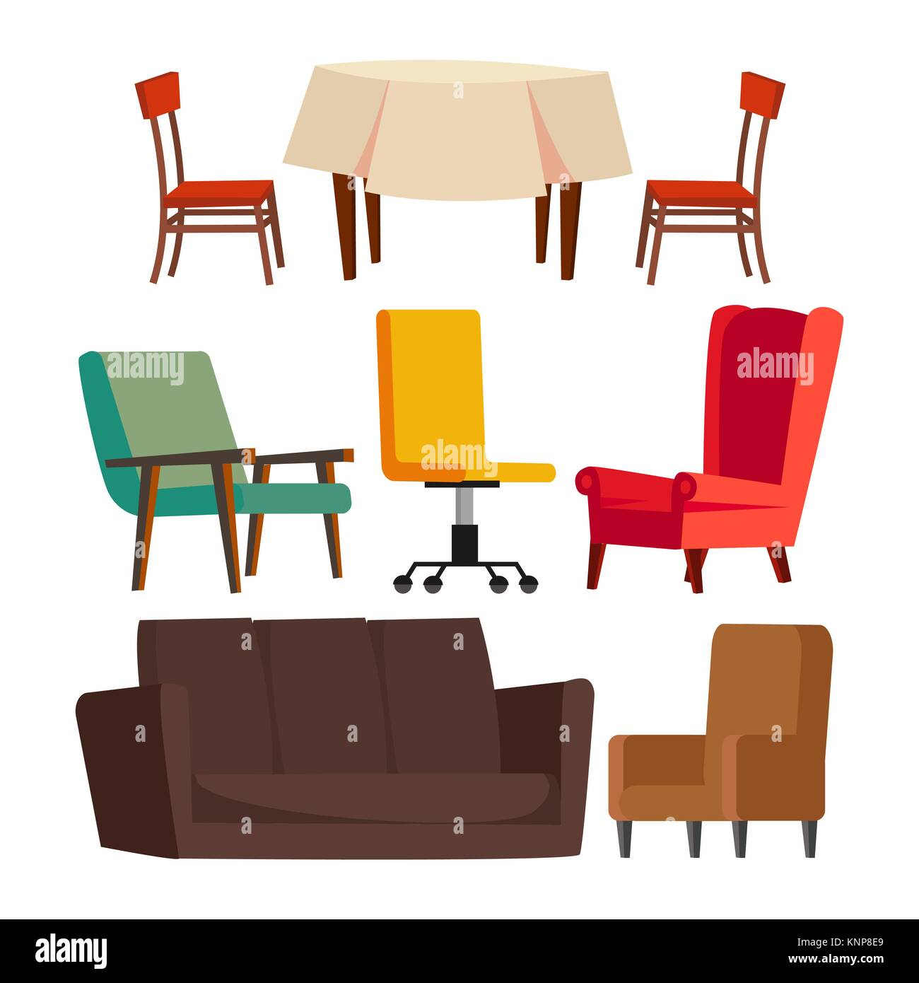 office chair illustration glider rocking parts cartoon furniture set vector sofa table flat isolated