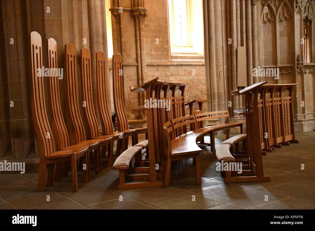wooden church choir chairs chair that opens into a bed wells cathedral england stock photo 168542959