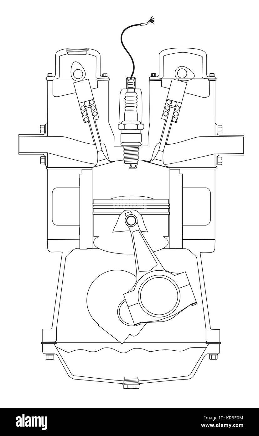 4 stroke petrol engine diagram wiring 12 volt coil four stock photos images outlind drawing image