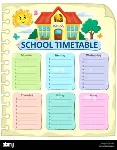 Weekly school timetable thematics stock image also time table chart cut out images  pictures alamy rh