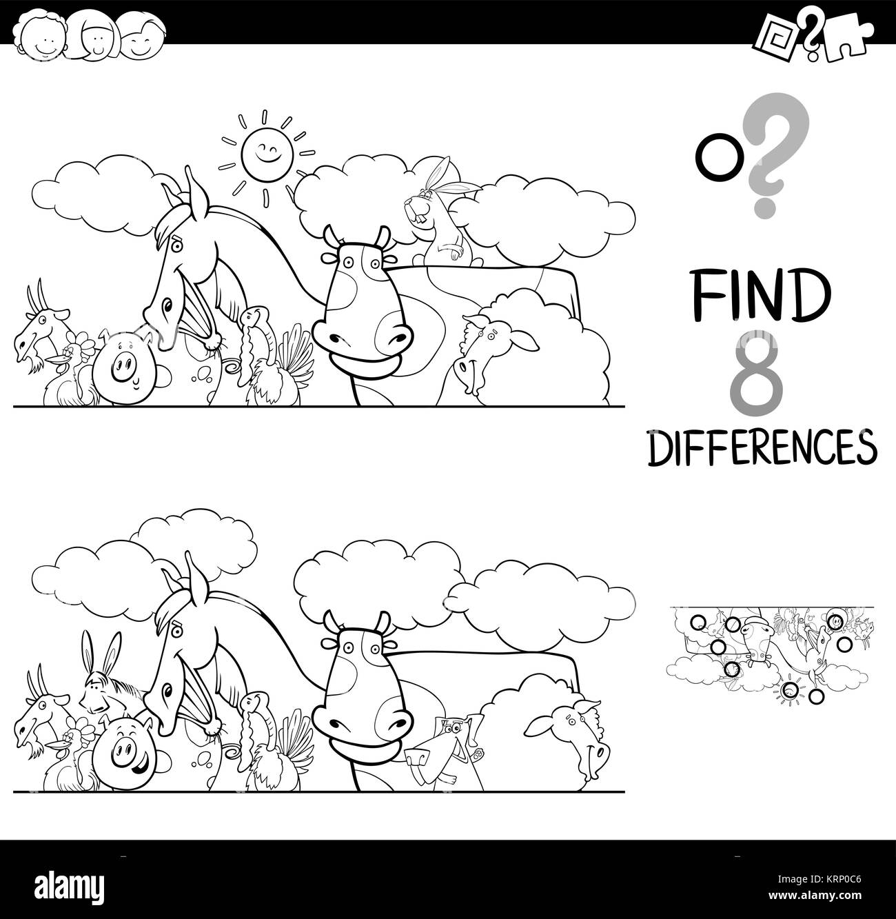 Black And White Cartoon Illustration Of Finding Eight