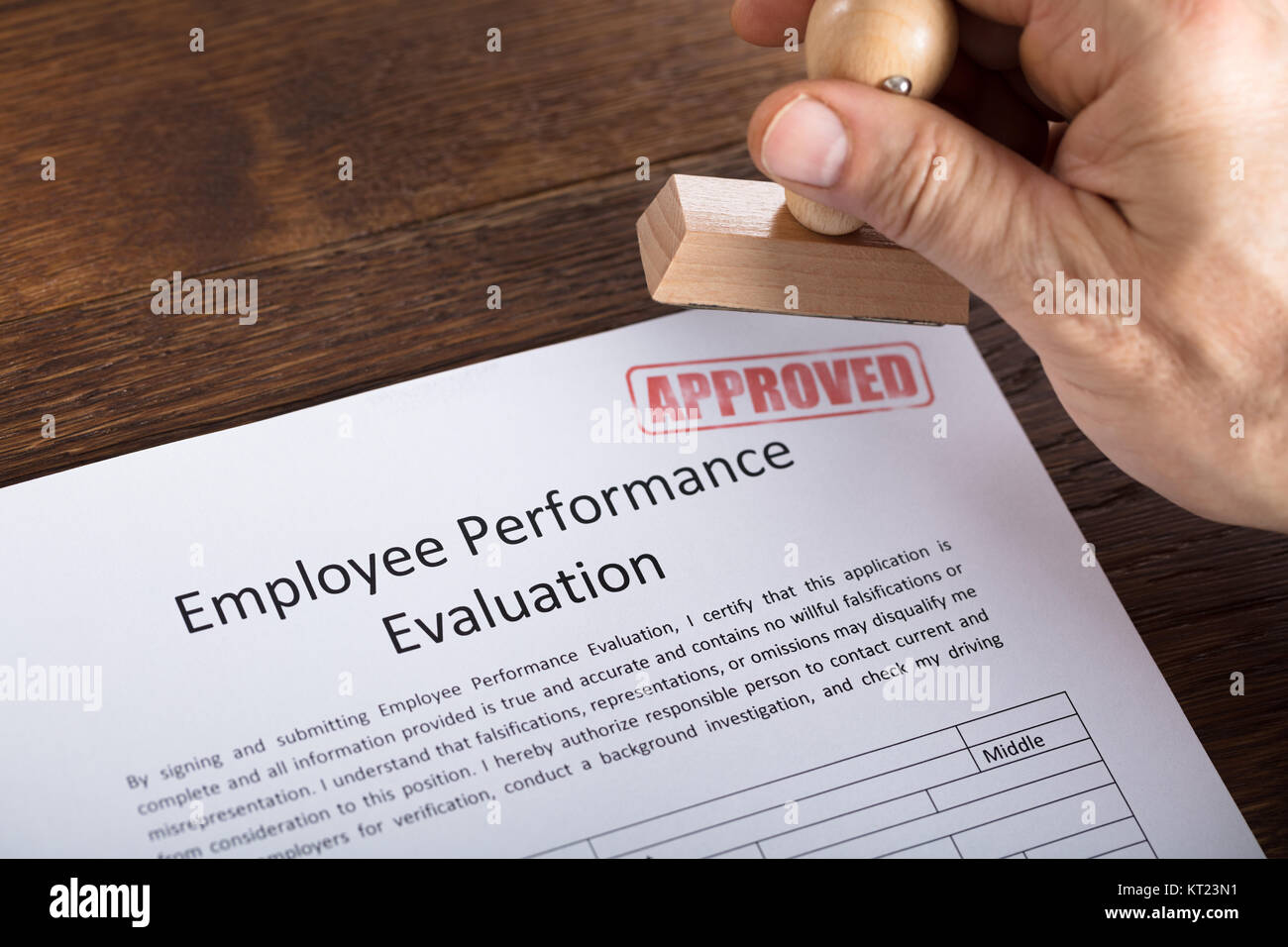 An Approved Stamp On Performance Evaluation Form