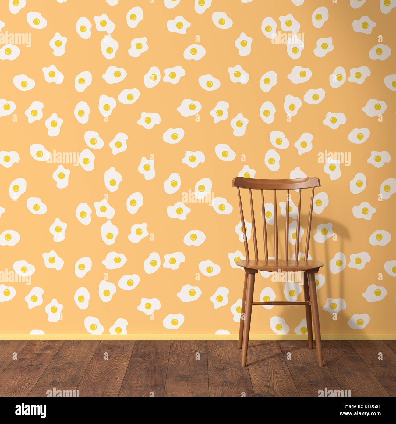 fried egg chair yellow leather wallpaper with pattern wood and wooden floor 3d rendering