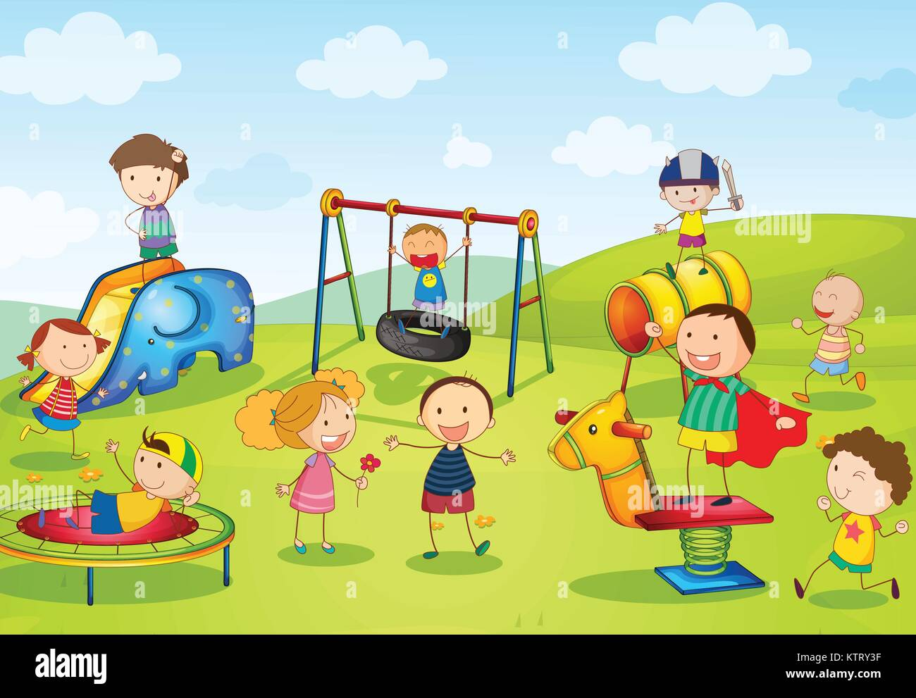 Illustration Of Kids Playing At The Park Stock Vector Art
