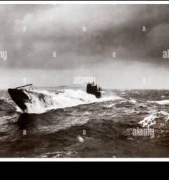 ww1 german submarine u boat north atlantic surfacing during u boat campaign 1914  [ 1300 x 904 Pixel ]