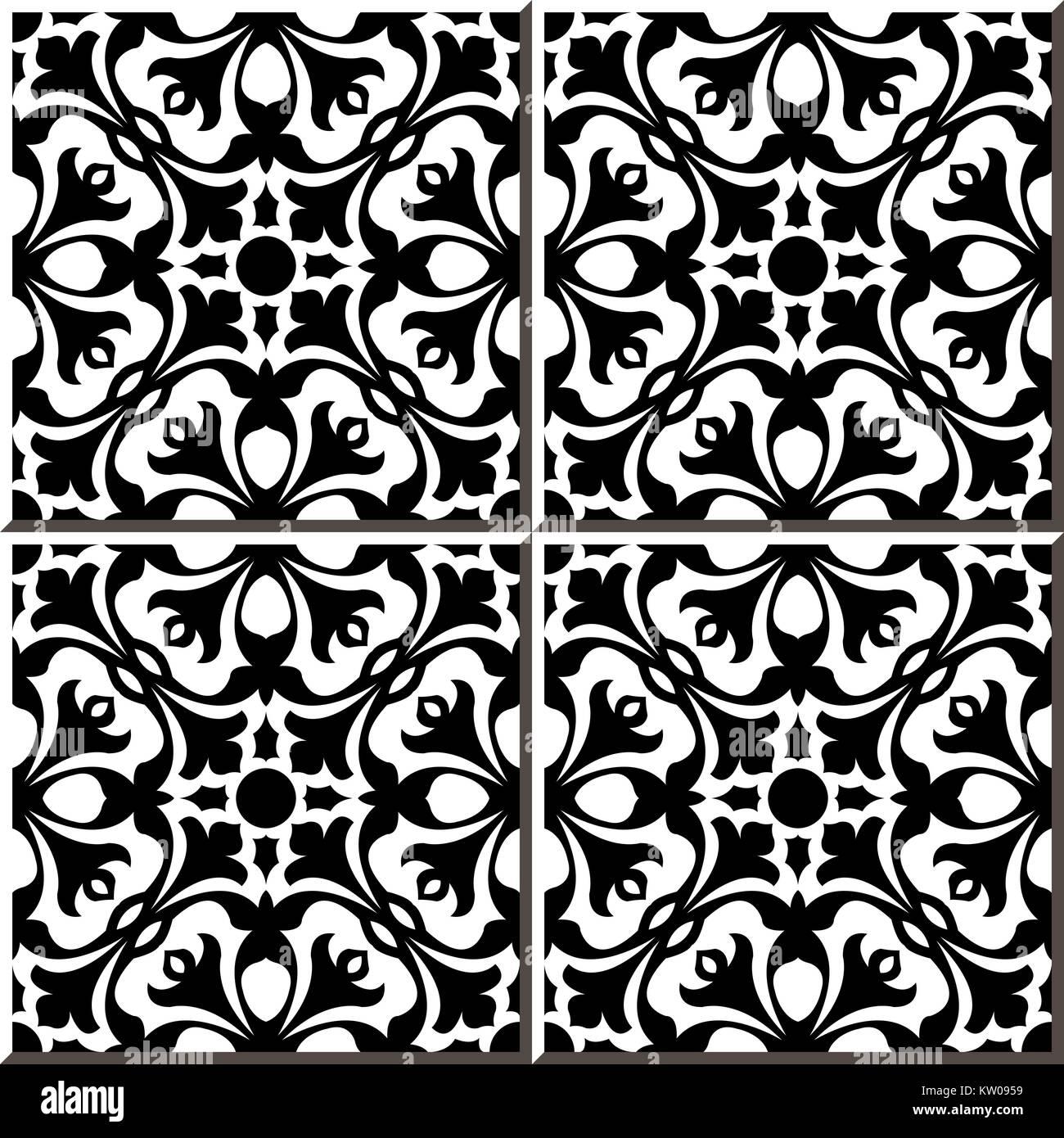 https www alamy com stock photo ceramic tile pattern of black white geometry flower 170266917 html