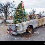 A Decorated Christmas Tree In The Back Of A Burnt Truck Among The Stock Photo Alamy