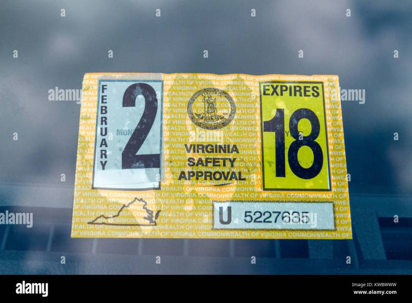 A Virginia Safety Approval Sticker From The Motor Vehicle Inspection Program United States