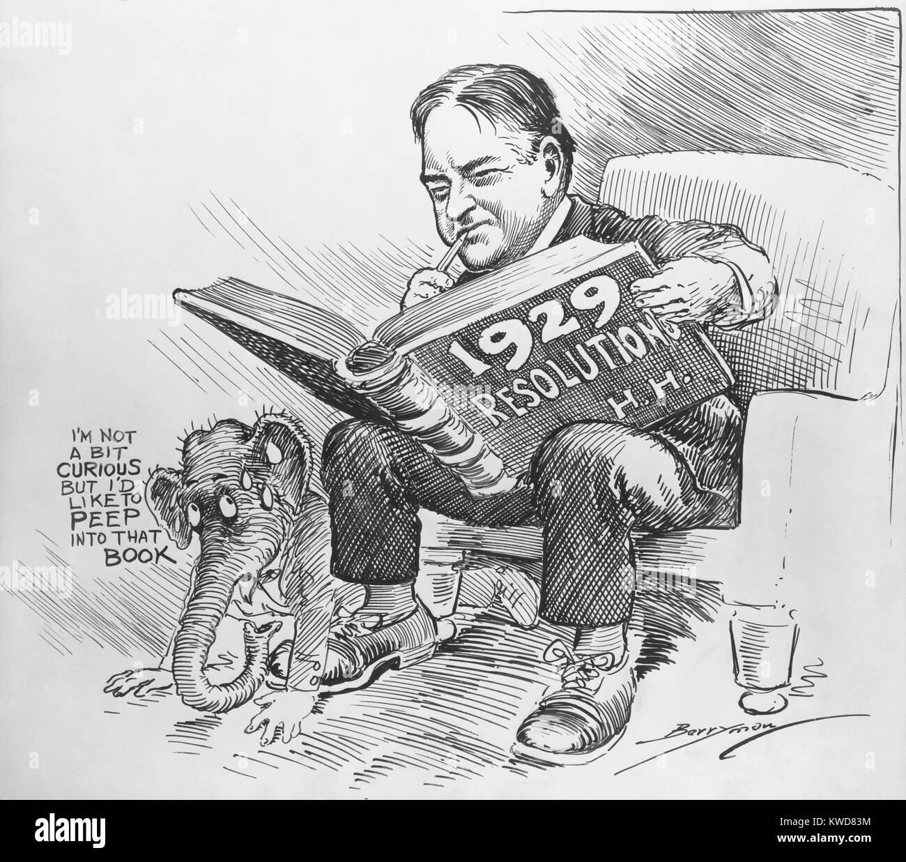 President Elect Herbert Hoover Reading A Book Entitled