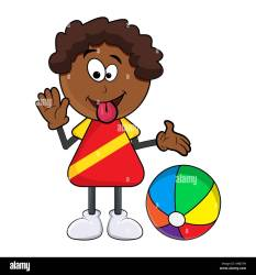 african black boy cartoon showing tongue with beach ball isolated on Stock Vector Image & Art Alamy