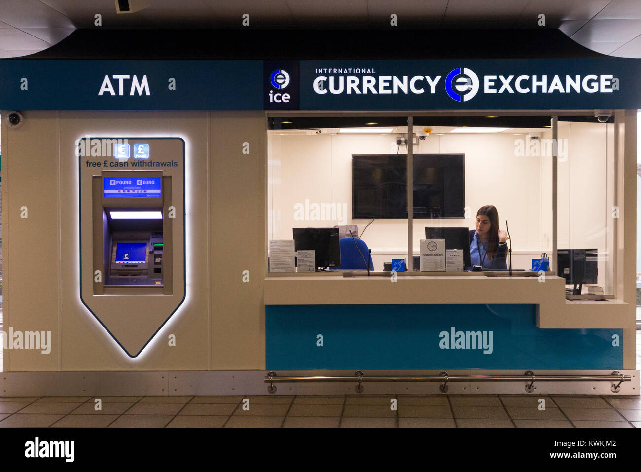 ice bureau de change international currency exchange at london city airport london uk 93