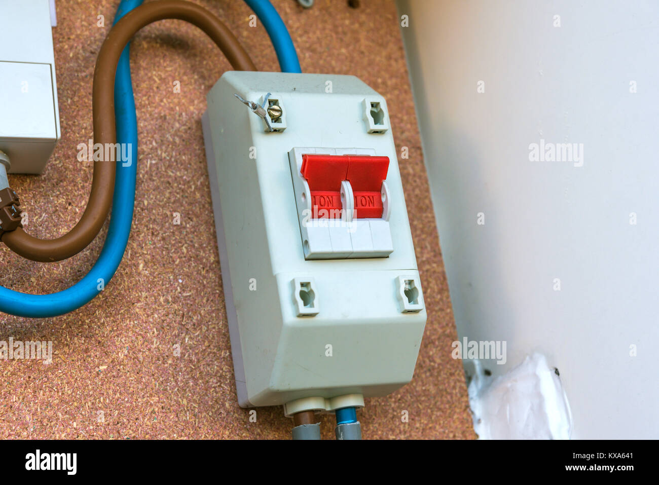 hight resolution of closeup view of automatic electric fuses box stock image