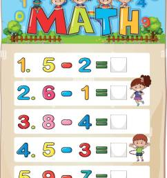 Worksheet design for subtraction illustration Stock Vector Image \u0026 Art -  Alamy [ 1390 x 847 Pixel ]