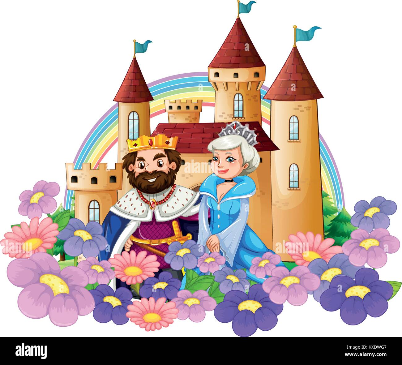hight resolution of king and queen in flower garden at palace illustration