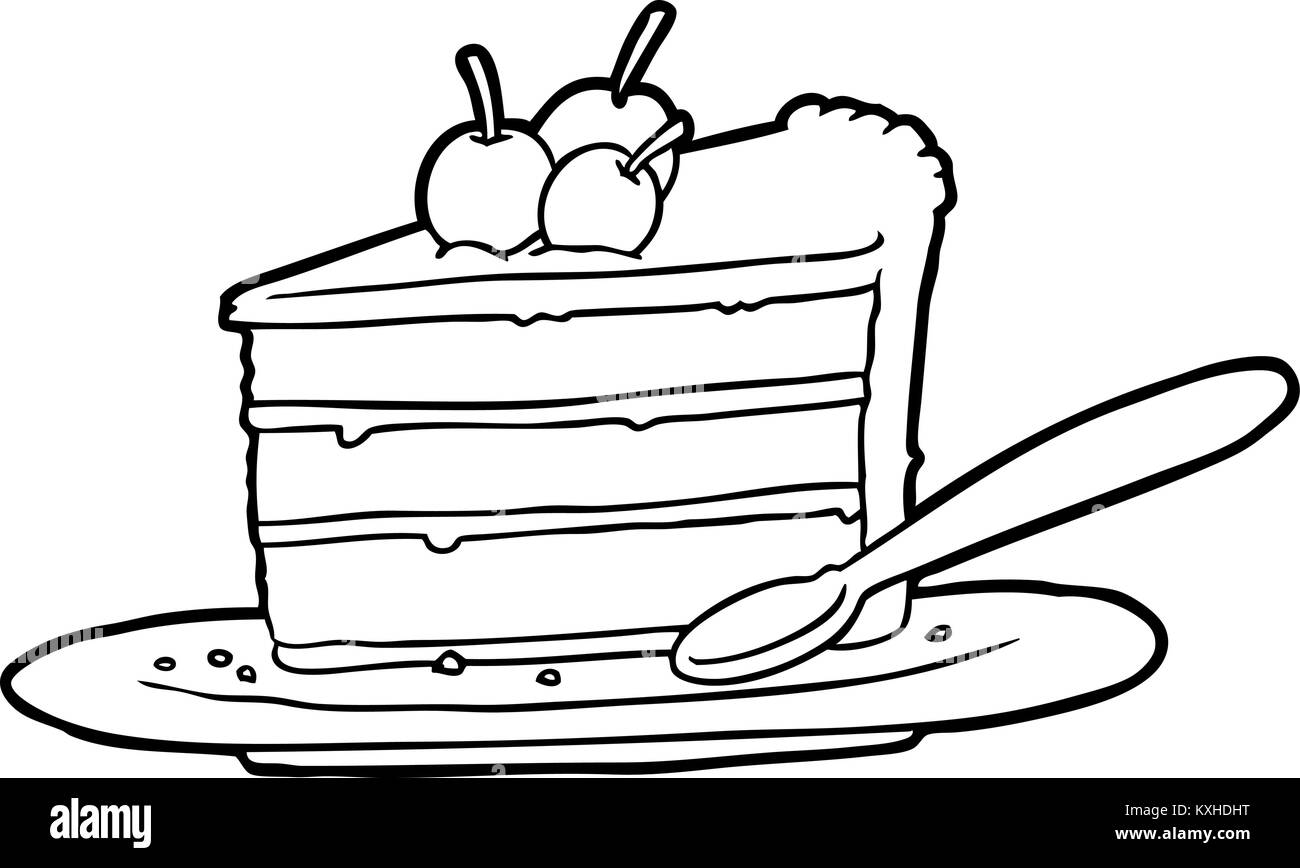 hight resolution of line drawing of a expensive slice of chocolate cake stock image