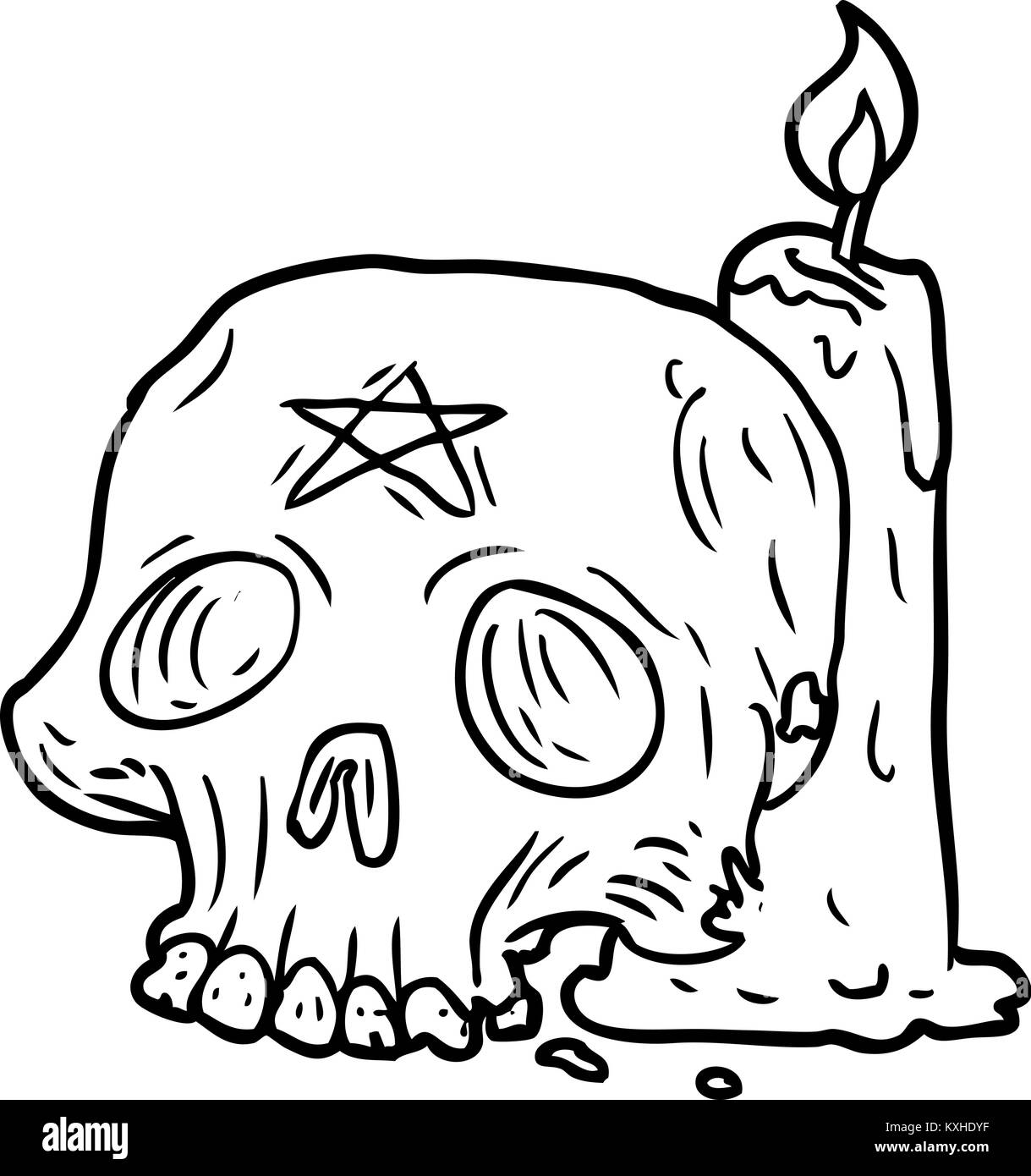 Line drawing of a spooky skull and candle stock image