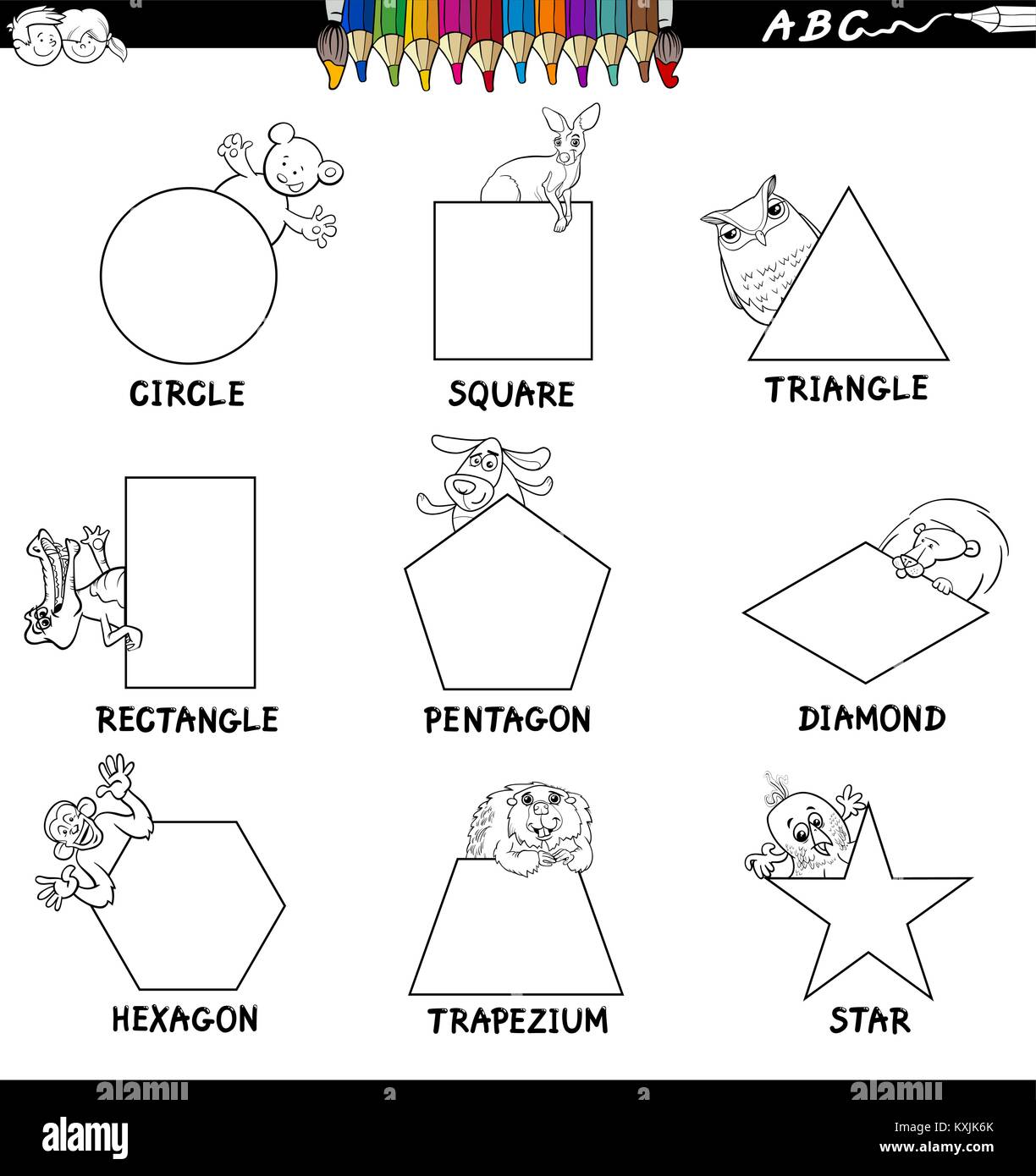 Black And White Cartoon Illustration Of Basic Shapes
