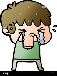 crying boy cartoon alamy vector