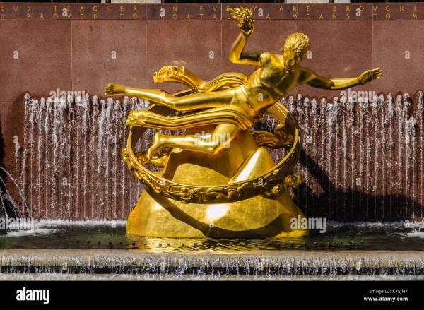 Golden Prometheus Statue Rockefeller Center Stock
