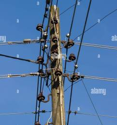wooden pole with electrical and telephone wires communication stock telephone line wiring diagram telephone wiring equipment [ 866 x 1390 Pixel ]