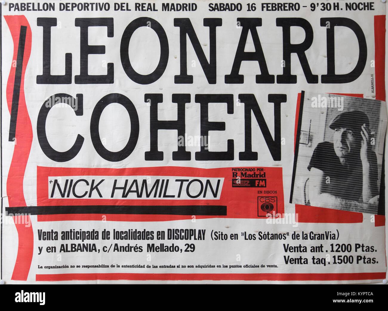 https www alamy com stock photo leonard cohen plus nick hamilton madrid musical concert poster 171991130 html