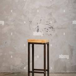 Bar Chairs Concrete Dining Room With Caramel Leather High Metal Chair Wooden Seat Near Grunge Wall