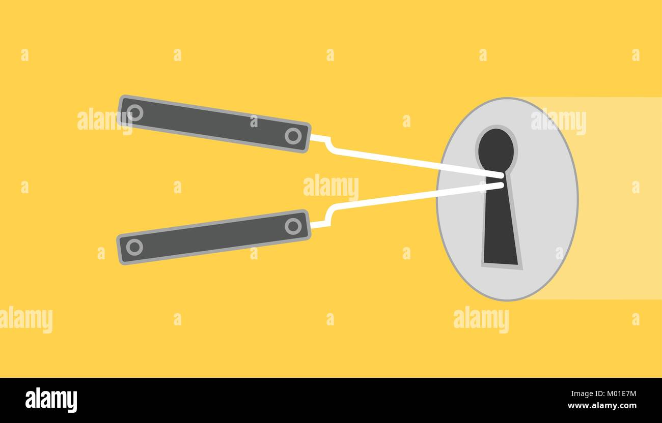 hight resolution of lock pick illustration with lock picked yellow background with flat style stock image