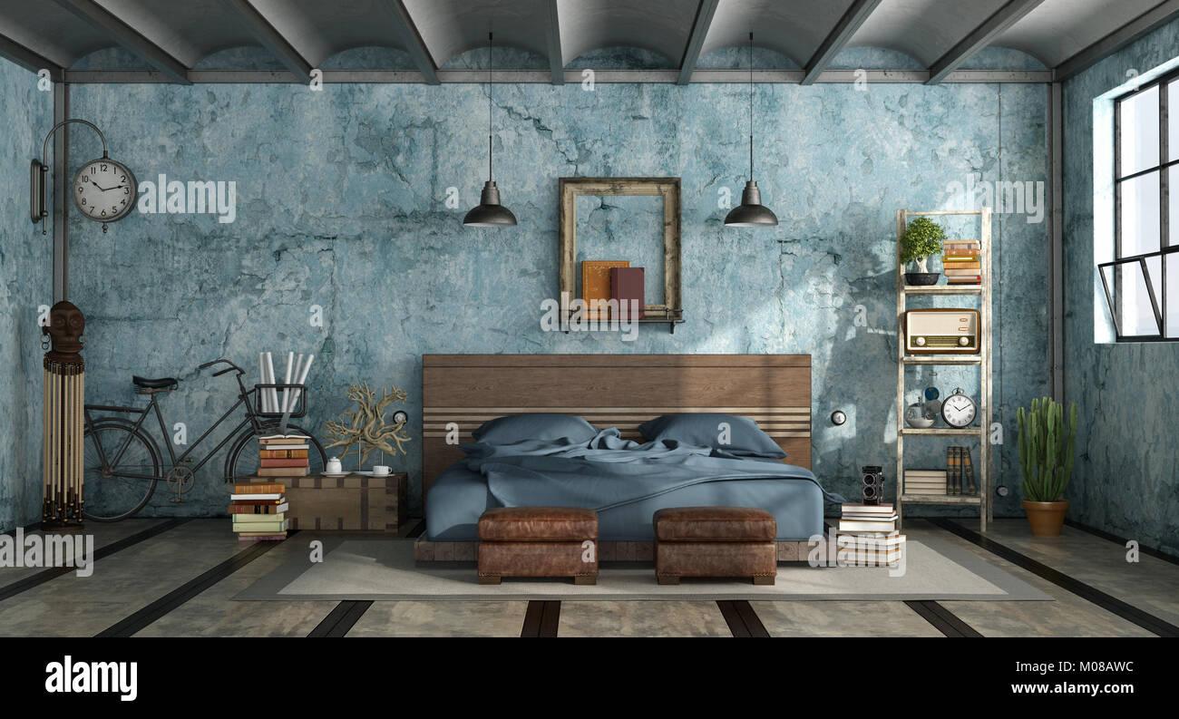 industriale vuol moderno ma soprattutto ricercato, è modesto e impressionante, uno stile sempre più scelto per arredare la camera da letto. Master Bedroom In Industrial Style With Old Blue Wall 3d Rendering Stock Photo Alamy