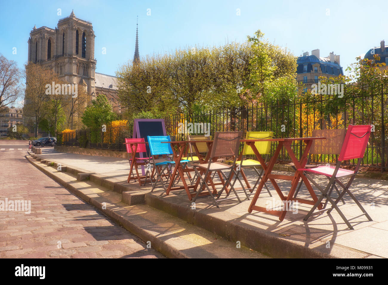 notre dame chair cream puff swivel paris cafe stock photos and