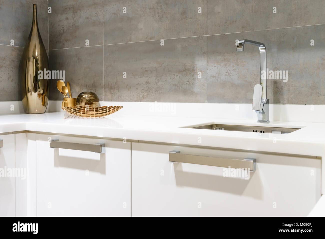 https www alamy com stock photo modern white kitchen countertop with white granite custom counter 172411670 html