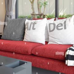 Red Sofa Design Living Room Expensive Sets Modern With White Pillows On The Stock