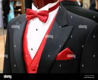 Black Tuxedo With Red Bow Tie Stock Photo: 172527104 - Alamy