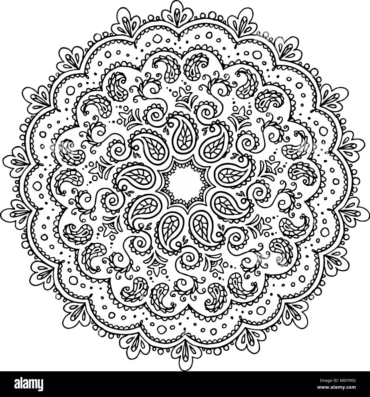Boho Flower Coloring Page Vase With Doodle Flowers And Mandala