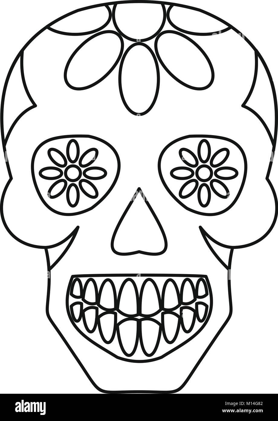 Sugar Skull Flowers On The Skull Icon Outline Stock Vector Image Art Alamy