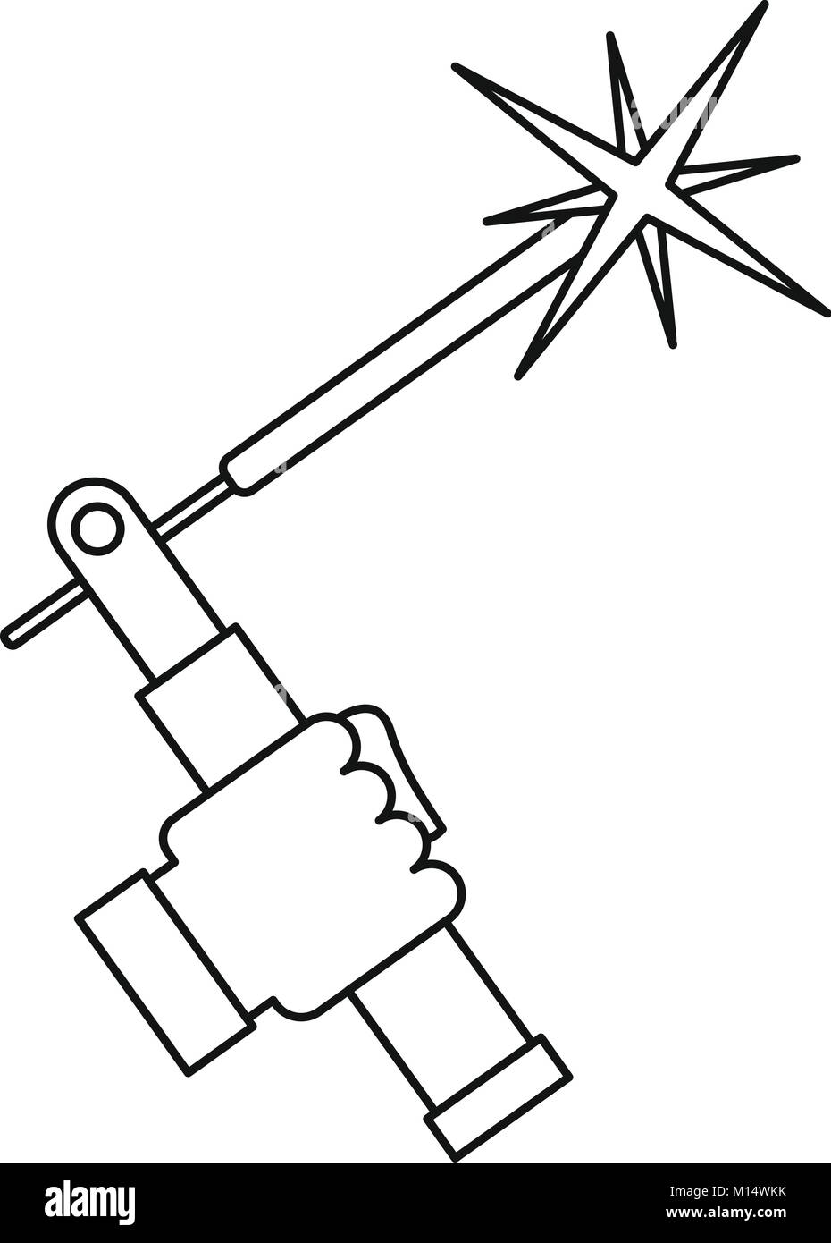 hight resolution of mig welding torch in hand icon outline