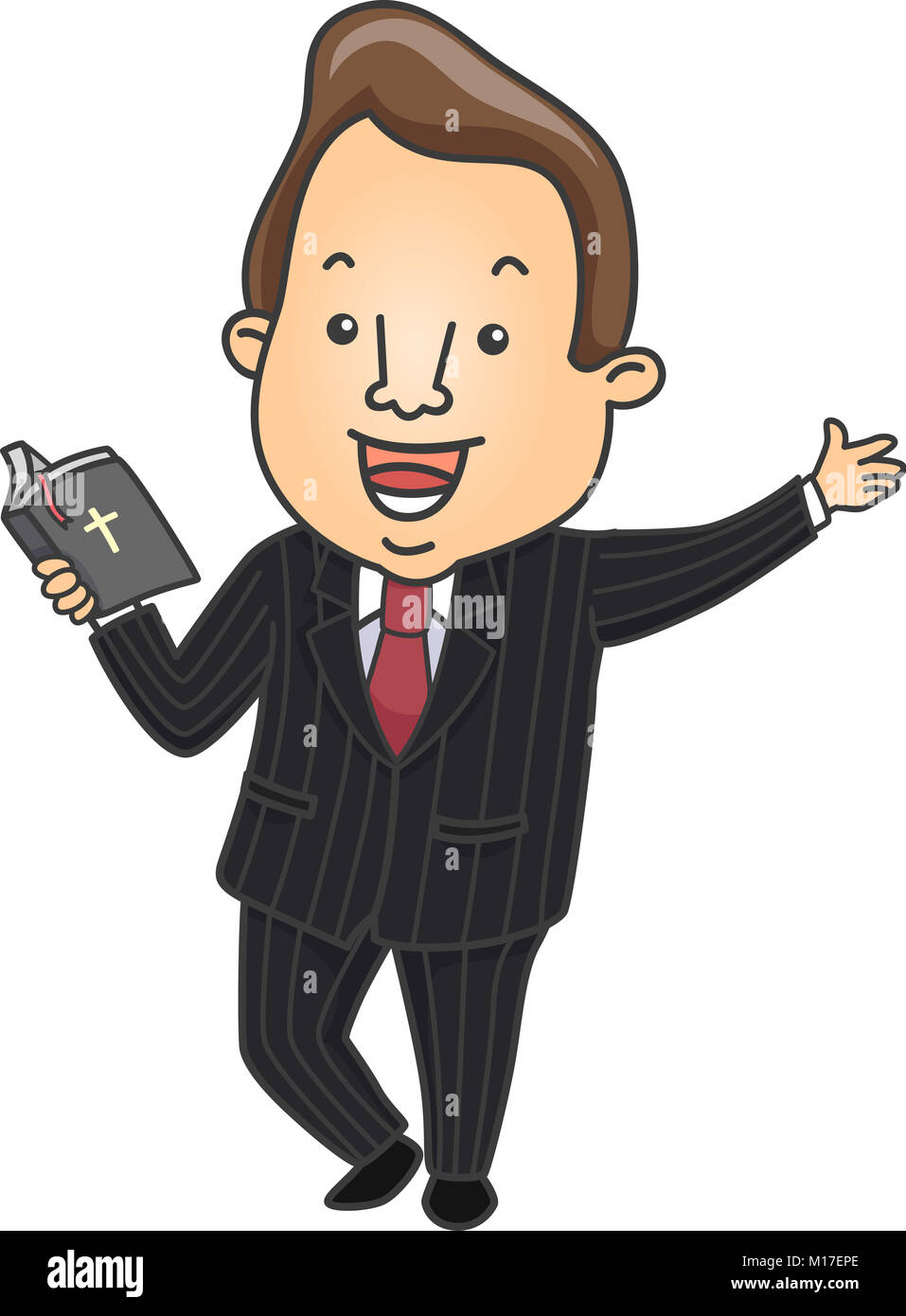 hight resolution of illustration of a preacher holding a bible happily preaching