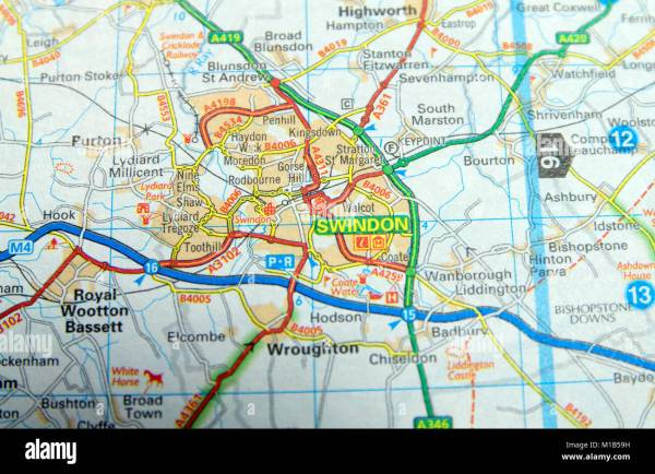 Road Map of Swindon England Stock Photo 172963997 Alamy