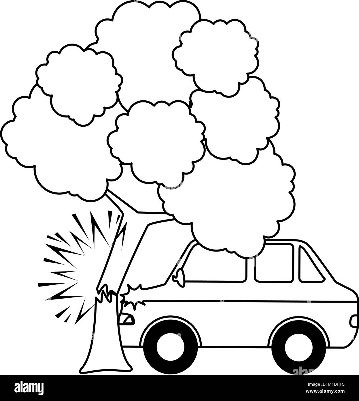 Cars crash accident with tree vector illustration design stock image