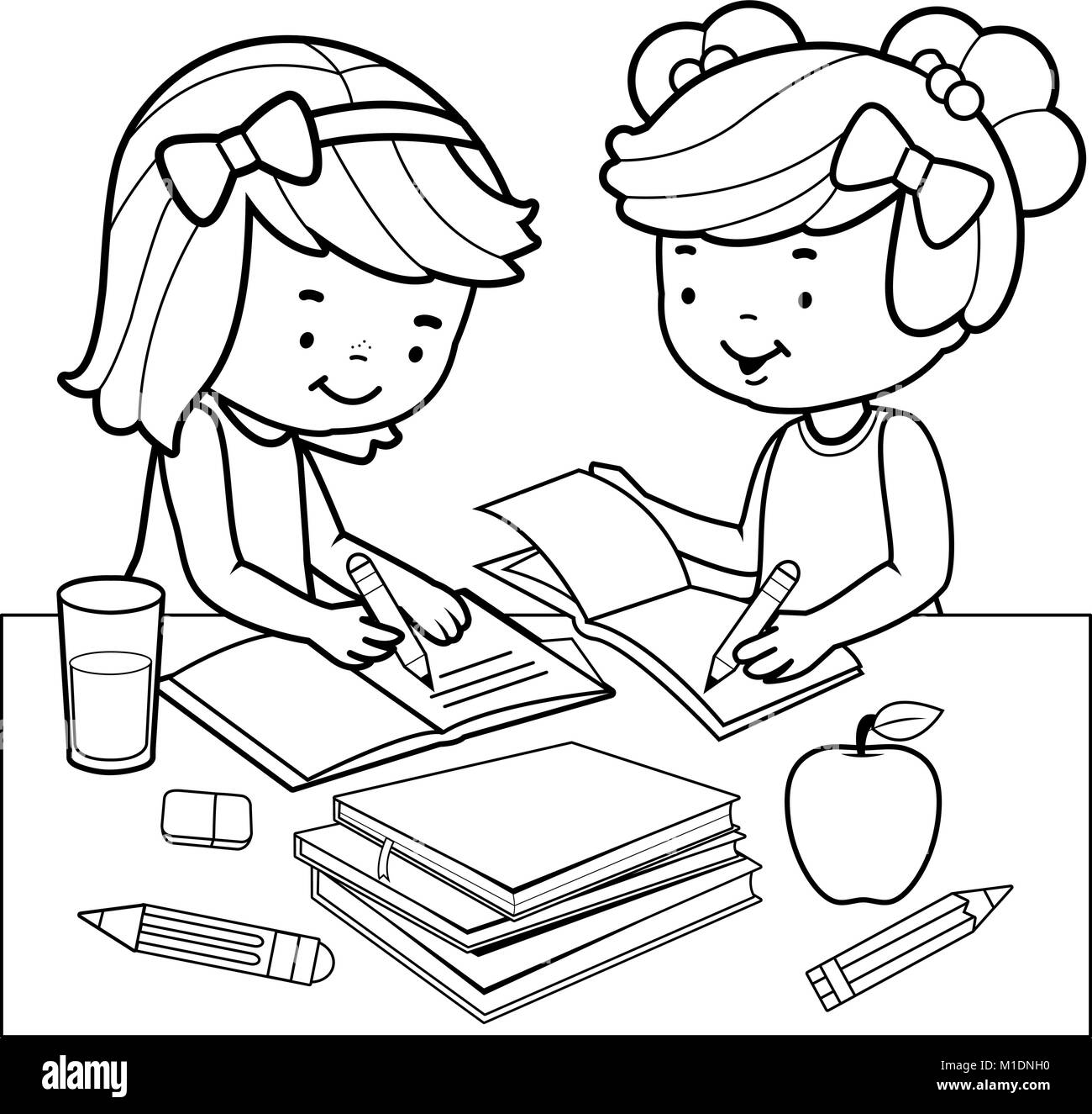 Students Doing Homework Black And White Coloring Book