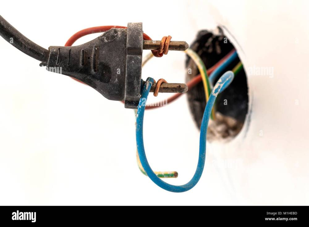 medium resolution of badly wired plug showing bad and wrong and dangerous connection stock image