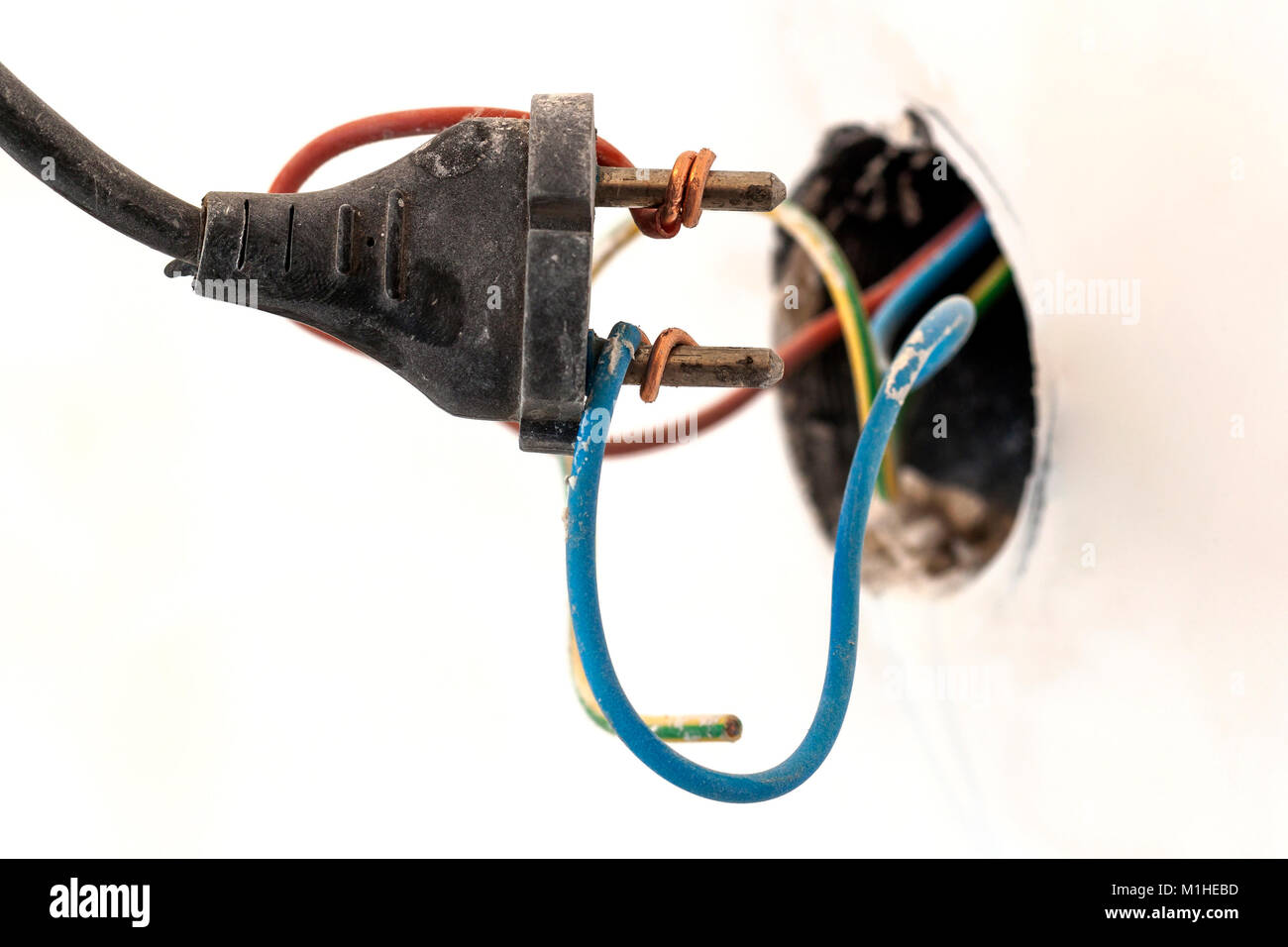 hight resolution of badly wired plug showing bad and wrong and dangerous connection stock image